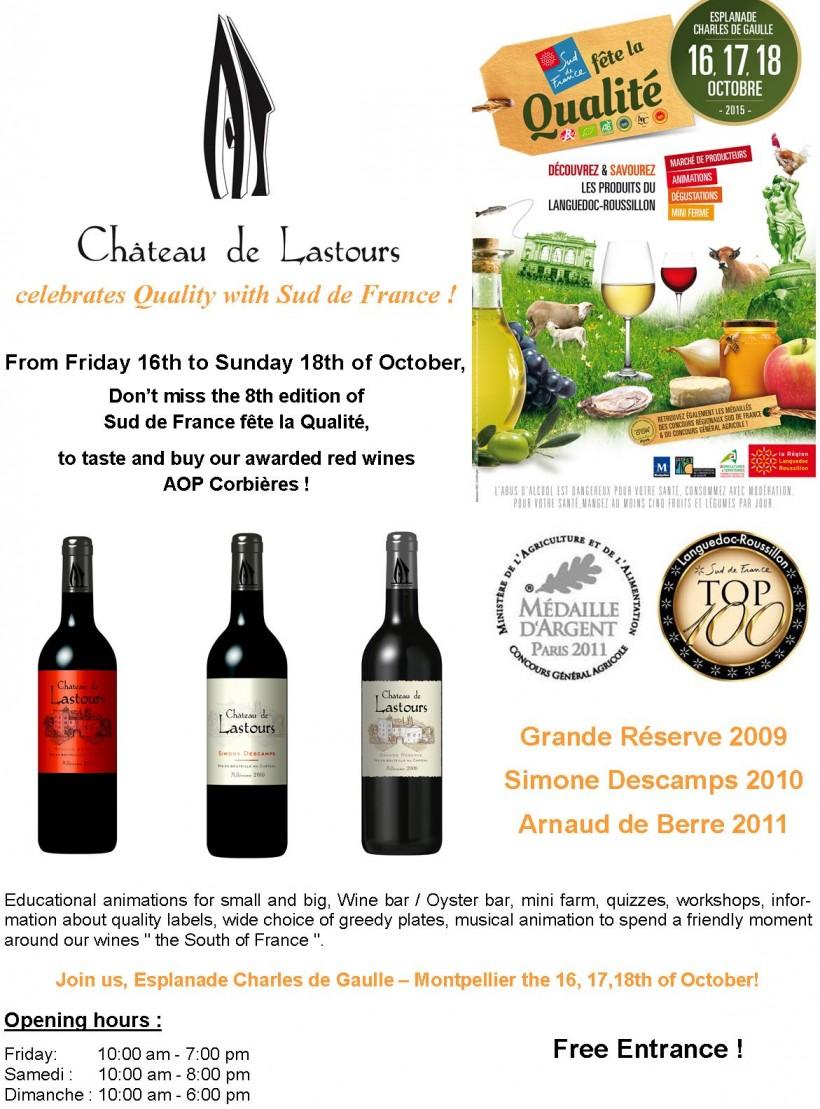 Château de Lastours celebrates Quality Sud de France Oct 2015